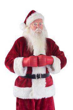 Santa Claus wears boxing gloves