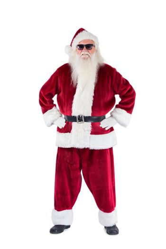 Santa Claus wears black sunglasses
