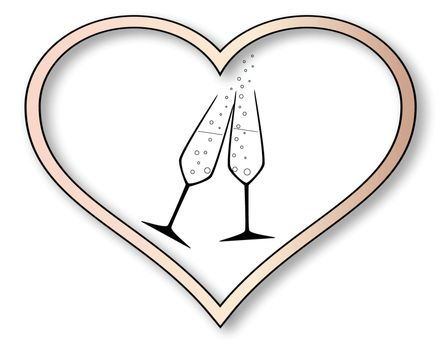 Two charged champagne glasses with bubbles inset into a isolated pink heart.