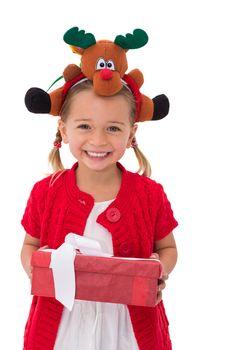 Cute little girl wearing rudolph headband