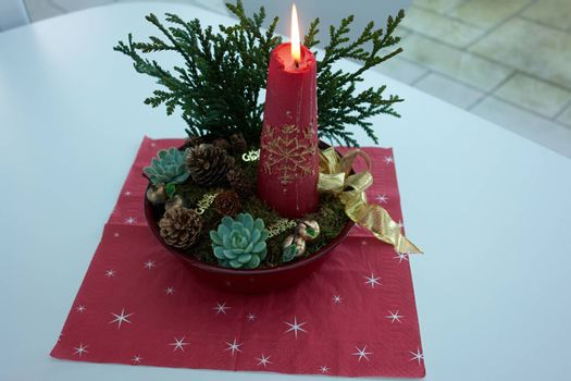 Christmas decoration on a table in closeup view