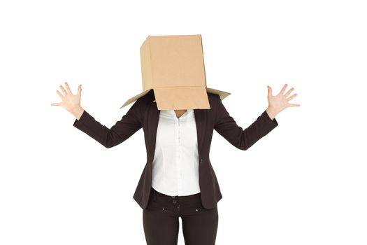 Anonymous businesswoman with her hands up