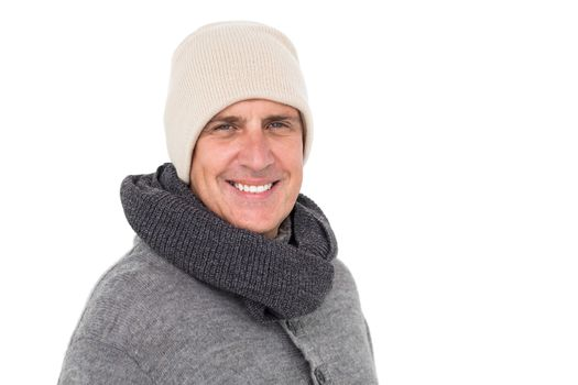Casual man in warm clothing