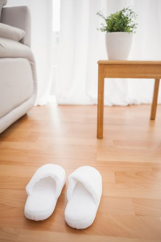 Fluffy slippers on the floor