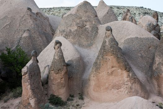 Rock formations in Goreme National Park. Cappadocia,  Turkey