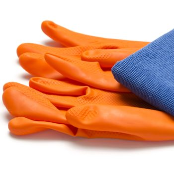 blue rag with orange cleaning glove