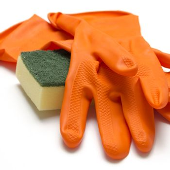 cleaning sponge and glove