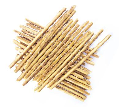 pile of pretzel sticks on white background.