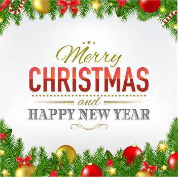 Christmas Card With Fir Tree Borders