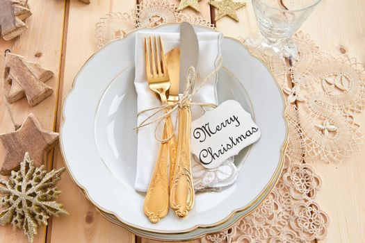 Vintage tableware placed for dinner