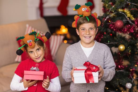 Brother and sister in headband holding gift
