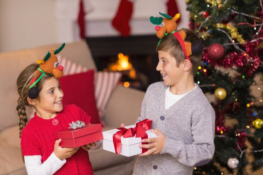 Brother and sister in headband holding present