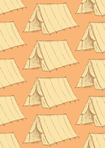 Sketch touristic tent in vintage style, vector seamless pattern