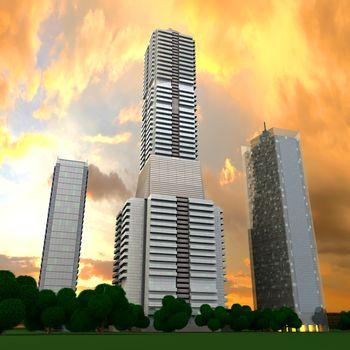 A contemporary skyscraper. 3D rendered Illustration.