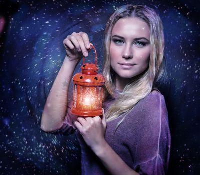 Cute female with glowing lantern