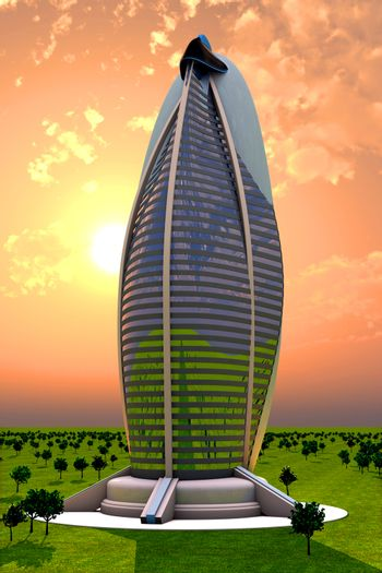 A sunset behind a futuristic Skyscraper. 3D rendered Illustration.