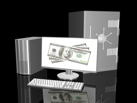 3D rendered Illustration. Online Banking