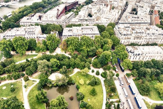 Beautiful aerial view of Paris with buildings and parks
