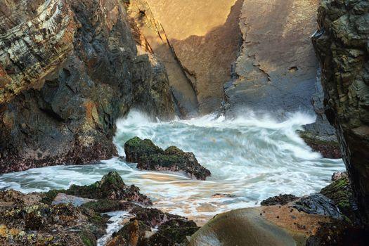 Waves at Sugarloaf Point Sea Chasm Cave