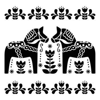 Swedish Dala or Daleclarian horse black and white folk art pattern
