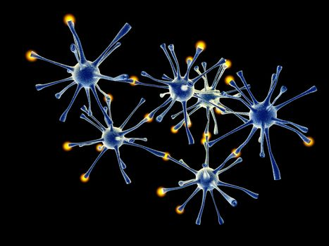 3D rendered Illustration. Interacting neuronal cells.