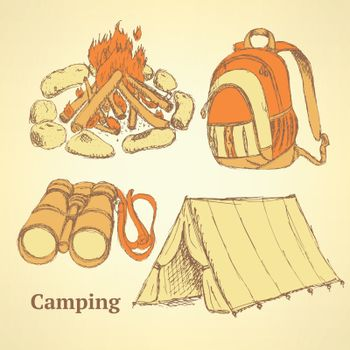 Sketch camping set in vintage style, vector