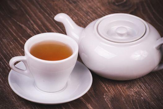 black tea set with cup  and tea pot