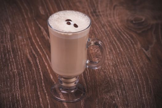 coffee latte with milk served in high glass