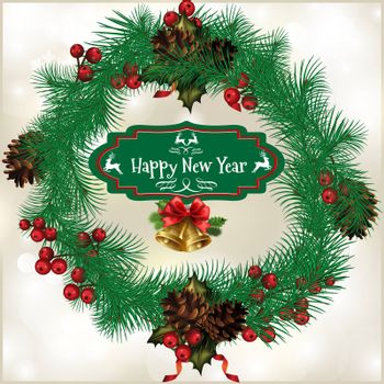 Christmas wreath with fir cones, with the words Merry Christmas in the center