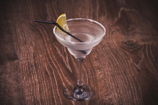 alcohol margarita cocktail in high margarita glass