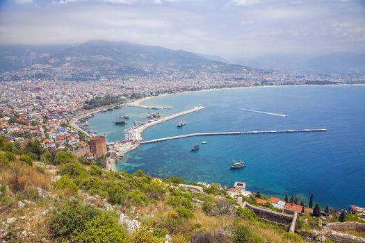 Alanya city hill, city coast, view from castle. Turkey