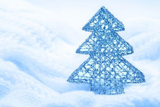 Christmas tree decorative figurine knitting background