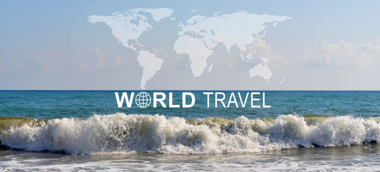 Seascape with wave rolling ashore, inscription World Travel, related symbol and contoured map of world continents