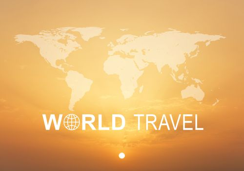 Contoured map of world continents with inscription World Travel and related symbol, against bright sunrise sky