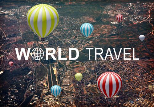 Aerial view of city, suburbs and airport. Air baloons above. Inscription World Travel and related symbol
