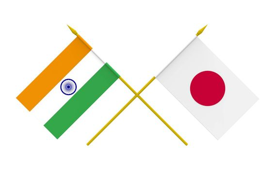 Flags, India and Japan