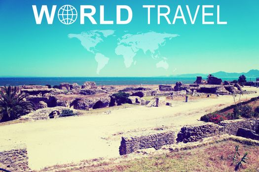 Ruins of the ancient city by the sea. Inscription World Travel, related symbol and contoured map of world continents
