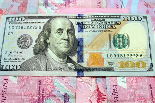 American dollars on the grivnas banknotes