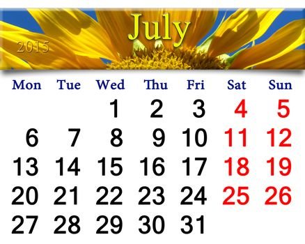 calendar for 2015 year with big sunflower