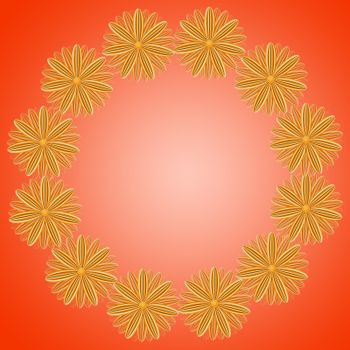 pattern from brown flowers on red gradient