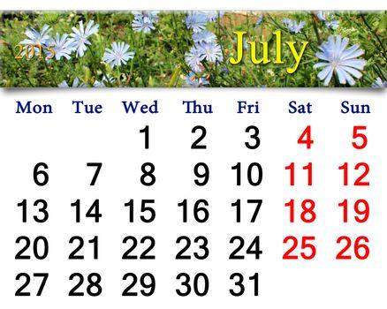 calendar for July of 2015 with Cichorium