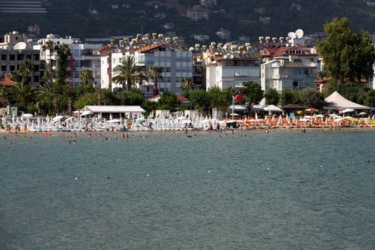 Alanya - the beach of Aladdin .  Alanya is one of most popular seaside resorts in Turkey