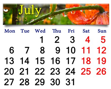 calendar for July of 2015 with drops on red lilies