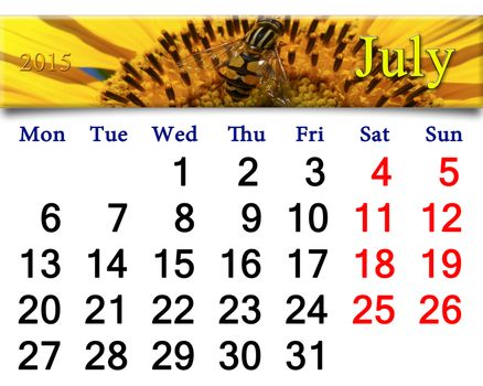 calendar for July of 2015 with fly on sunflower
