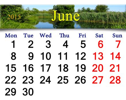 calendar for June of 2015 year with forest lake