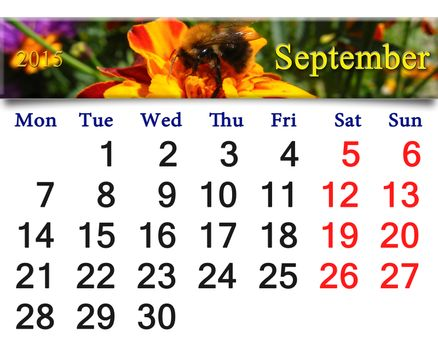 calendar for September of 2015 with bumblebee