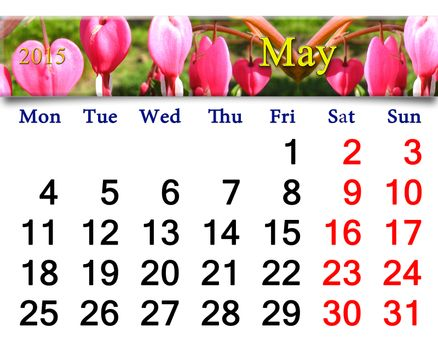 calendar for May of 2015 year with dicentra