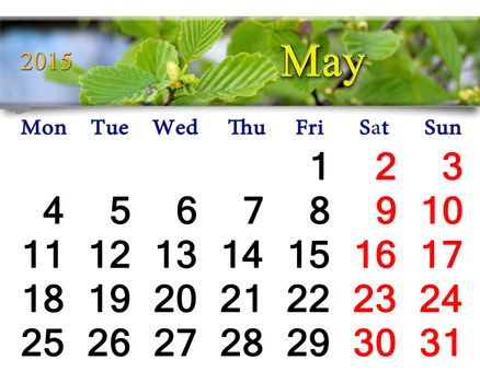 calendar for May of 2015 year with alder leaves