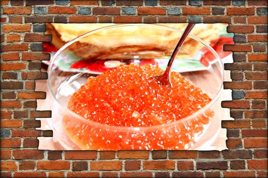 broken brickwall with red caviar in plate