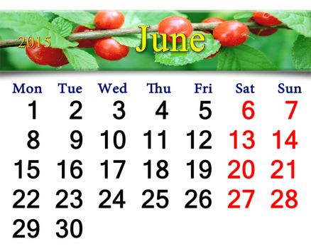 calendar for June of 2015 with Prunus tomentosa